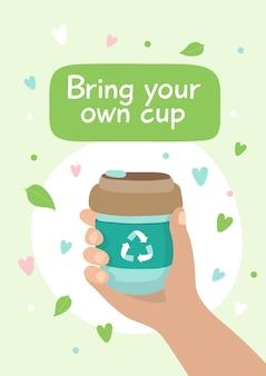 Copo de café reutilizável - ilustração com letras.