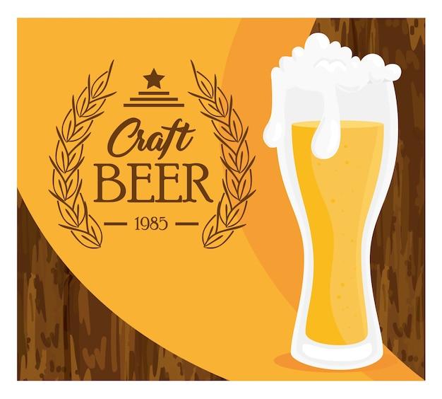 Copo de cerveja artesanal, desenho de ilustração vetorial