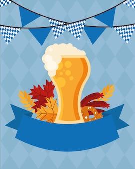 Copo de cerveja com desenho de flâmula de banner, festival alemão oktoberfest e tema de celebração