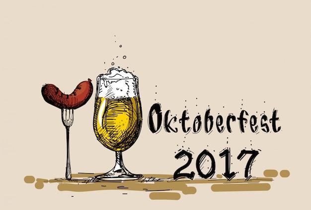Copo de cerveja com esboço de salsicha festival oktoberfest