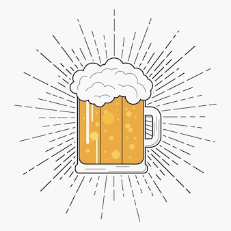 Copo de cerveja com espuma e sunburst em estilo hipster tipografia para camiseta e design de logotipo