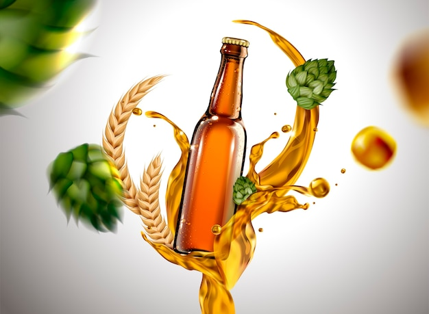 Copo de cerveja com líquido e ingredientes voando no ar