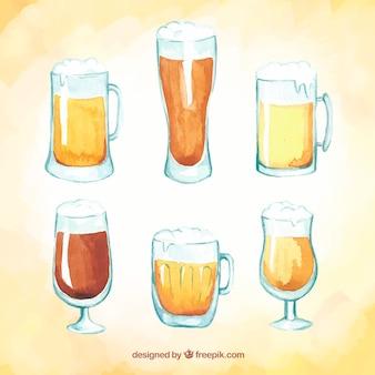 Copo de cerveja e colete de cerveja de aquarela