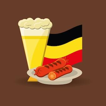 Copo de cerveja e prato com salsichas