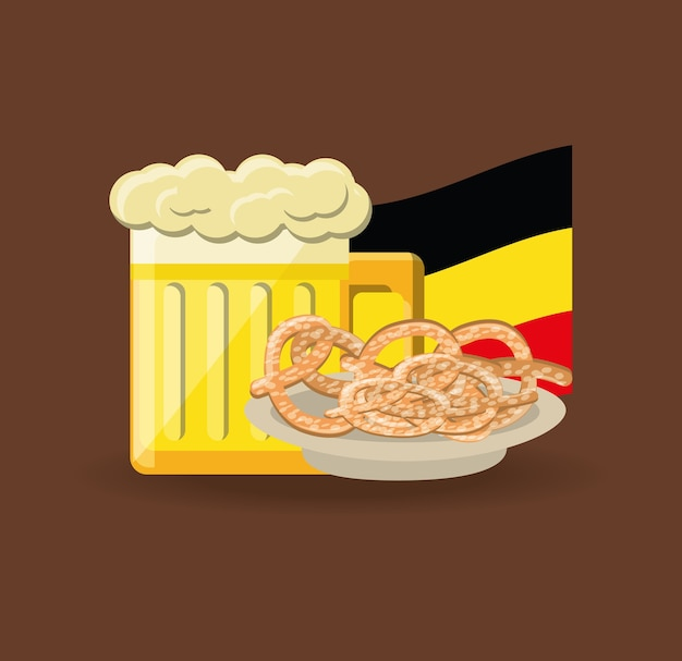 Copo de cerveja e pretzels
