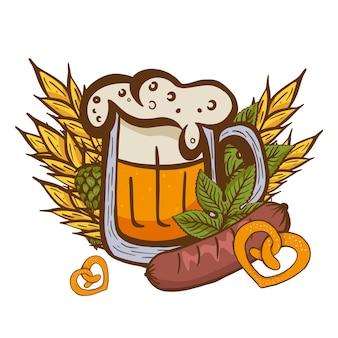 Copo de cerveja entre folhas e cone de lúpulo em um banner da oktoberfest decorado com símbolos tradicionais de um festival de cerveja na europa.