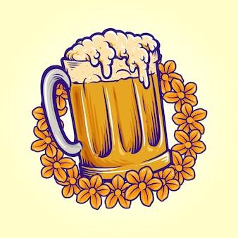 Copo de cerveja, flores verões festa outubro fest logotipo