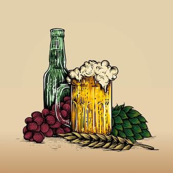 Copo de cerveja, garrafa, uva e lúpulo. vindima, gravura, ilustração, para, teia, cartaz, convite, para, festa