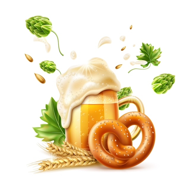 Copo de cerveja lager realista com salsicha de pretzel de bolhas douradas e lúpulo verde para oktoberfest