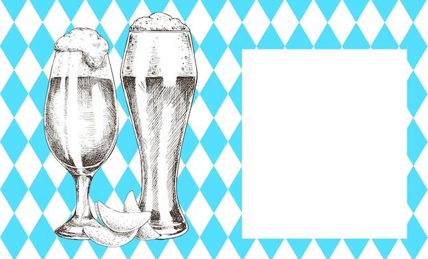 Copo de cerveja pilsner tulip com cartaz promocional de espuma