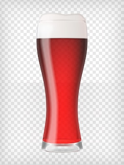 Copo de cerveja realista com cerveja vermelha e espuma