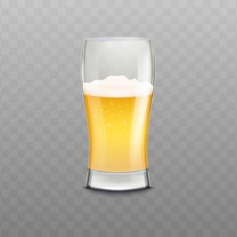 Copo de cerveja realista com espuma isolada