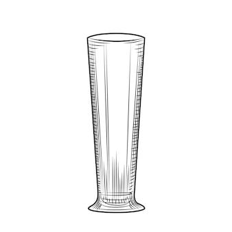 Copo de cerveja vazio desenhado de mão. estilo de gravura. ilustração vetorial isolada em fundo branco