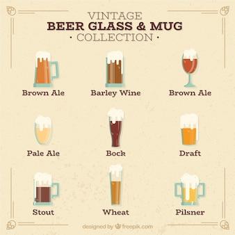 Copo de cerveja vintage e coleção de canecas
