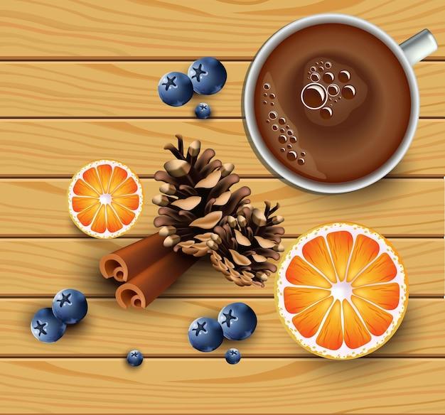 Copo de chá com fatias de laranja em textura de madeira. vista do topo. fundos de inverno vetorial