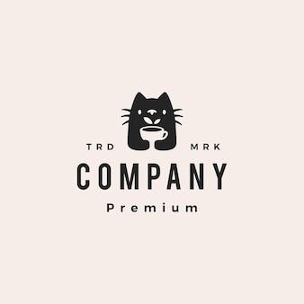 Copo de chá de gato, folha, bebida, hipster, logotipo vintage, vetorial, ícone, ilustração