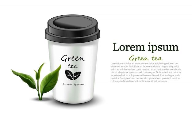 Copo de chá verde bebida natural realista Vetor Premium