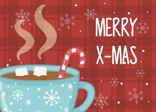 Copo de chocolate quente marshmallow bastão de doces cartão de feliz natal