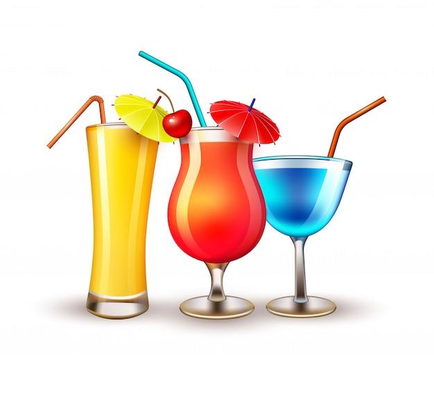 Copo de cocktail realista de férias de verão