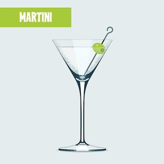 Copo de coquetel de martini com azeitona.