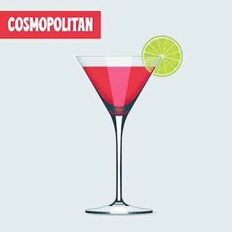 Copo de coquetel de martini com bebida vermelha.
