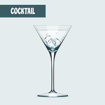 Copo de coquetel de martini com ilustração de cubos de gelo