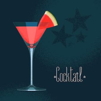 Copo de coquetel de martini com ilustração de melancia e bebida de cor vermelha