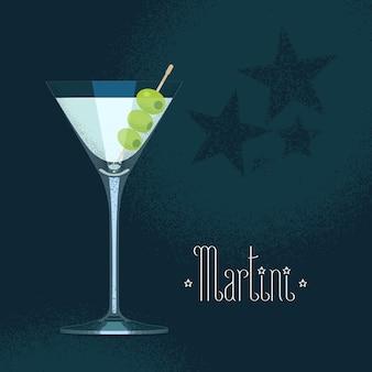 Copo de coquetel de martini com três azeitonas.