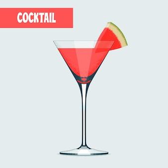 Copo de coquetel martini com melancia.
