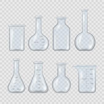 Copo de laboratório realista, frasco de vidro e outros recipientes de produtos químicos, equipamentos médicos de medição 3d isolados em fundo transparente. equipamento de laboratório químico vazio em estilo realista.