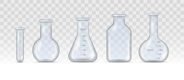 Copo de laboratório realista, frasco de vidro e outros recipientes de produtos químicos