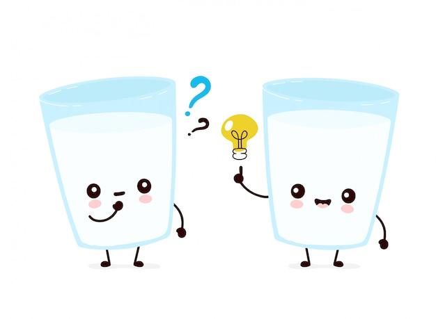 Copo de leite feliz sorridente fofo com ponto de interrogação e lâmpada de ideia. ilustração de personagem de desenho animado plana. isolado no fundo branco. conceito de personagem de vidro de leite