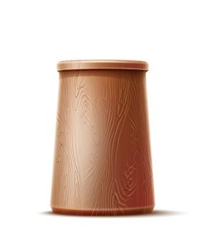 Copo de madeira realista com superfície texturizada
