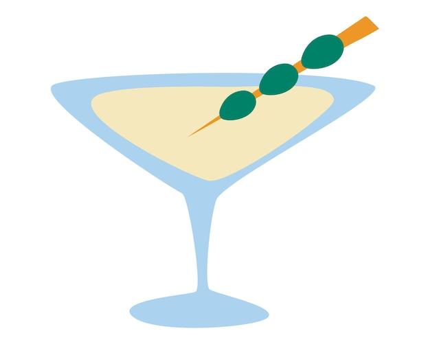 Copo de martini com azeitonas. álcool e tema de entretenimento. bebida de festa. ícones de copos para álcool. design plano de ilustração vetorial isolado.