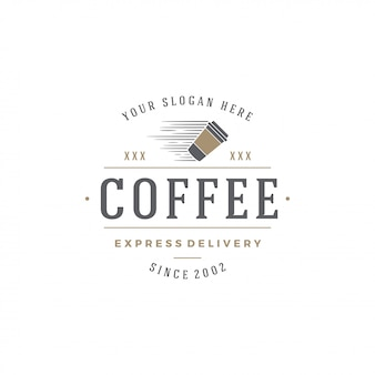Copo de modelo de emblema de café com silhueta de feijão com ilustração em vetor tipografia retrô