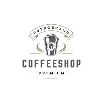 Copo de modelo de logotipo de café com silhueta de feijão com ilustração em vetor tipografia retrô