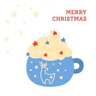 Copo de natal com bebida de desenho animado