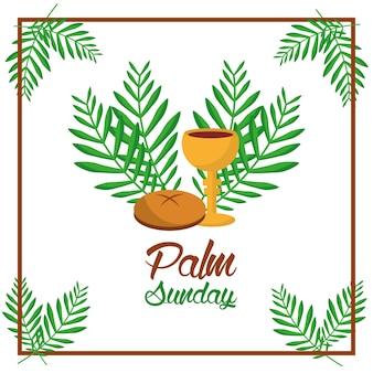 Copo de pão de palma domingo e folhas de decoração de moldura de árvore