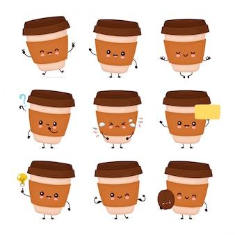 Copo de papel de café feliz bonito conjunto coleção. ilustração plana personagem de desenho animado. isolado no fundo branco. café para viagem, leve embora o conceito de pacote