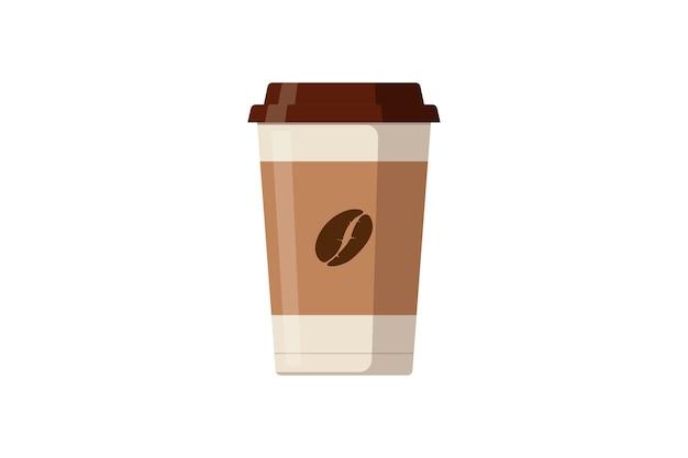 Copo de papel descartável com ícone do grão de café. ilustração em vetor design plano isolado