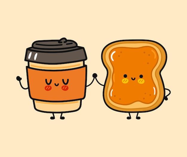 Copo de papel feliz engraçado fofo e torrada com personagem de manteiga de amendoim