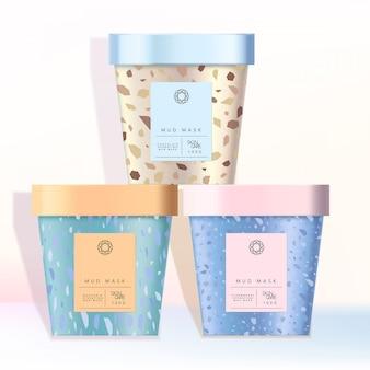 Copo de papel reciclável sorvete jarro caneca para alimentos lanche cosméticos cuidados de saúde cuidados com crianças crianças brinquedos produtos padrão de mármore