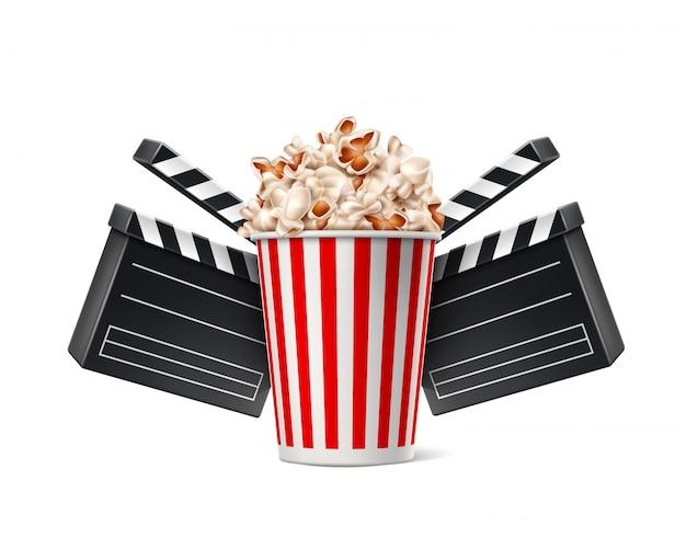 Copo de pipoca de cartaz de cinema vector e claquete