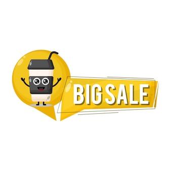 Copo de plástico de café grande mascote personagem fofa