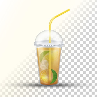 Copo de plástico para viagem para chá gelado Vetor Premium