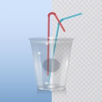 Copo de plástico realista para milkshake, limonada e smoothie.