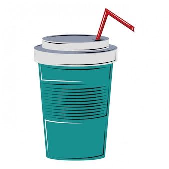 Copo de refrigerante com palha