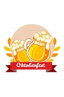 Copo de refrigerante para ilustração dos desenhos animados do ícone da oktoberfest