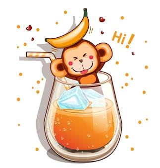 Copo de suco de banana com canudo e macaco