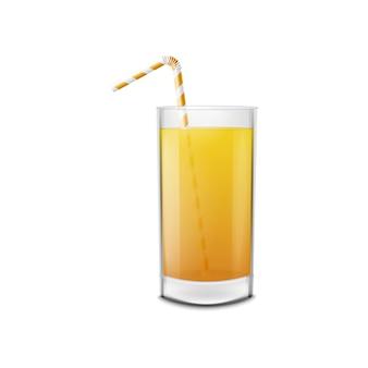 Copo de suco de laranja com canudo, bebida de frutas frescas.